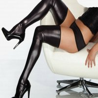 Wholesale Sexy Socks Accessories - 2016 Brand Women Accessories Black Latex Stockings Faux Leather Wet Look Vinyl Fetish Stocking S7796 Knee Socks Free Shipping