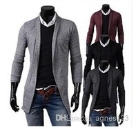 Wholesale Gray Cardigan Sweater Men - Hot Mens Long Sleeve Cardigan,Males Pull style Clothings Fashion Sweaters hight quality new free shipping