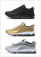 Wholesale Denim Top Lace - 2017 New Classical Maxes 97 Running Shoes Silver Bullet Metallic Gold Men Women Sport Shoes Top quality 3 Colors trainers With Box
