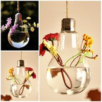 Wholesale Hanging Glass Plant Containers - Transparent Clear Wedding Crafts Crystal Hanging Light Bulb Shape Glass Vase Flower Plant Container Pot Home Decoration home Decor E442L