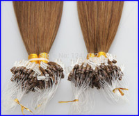 Wholesale 28 Inch Micro Loop Extensions - brazilian virgin hair straight 100s pc micro loop rings remy human hair extensions #6 Medium Brown cheap virgin hair 8- 30 inch