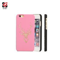 Cute Deer UI Funda de madera para iPhone 5 6 6S 7 7Plus 8 8plus Custom Laser Wood Rosa Blanca PC duradera
