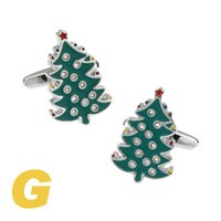 Wholesale Christmas Tree Cufflinks - High Quality New Classic Silver Copper Mens Wedding Cufflinks Novelty Rare Fancy Christmas Tree & Clean Cloth 190065