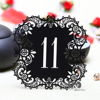 ingrosso tabella di carta nera-Wholesale- 10pcs / set Black Hollow Lace Table Numero di carte da 11 a 20 Rustic Wedding Centrotavola Vintage Event Supplies per feste