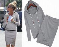 Wholesale Df Dress - 2015 Women baseball jacket casual sweat skirt suits sport sweatshirt shorts tracksuits animal hoodies dress suit 2pcs set DF-258