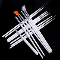 Wholesale Decoration Paint Brush - Nail Art Brushes Set,15pcs White Decorations Gel Painting Pen Nail Brush, Professional Nail Equipment Drawing Tool free shipping DHL 60152