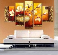 Wholesale Yellow Oil Paint Canvas - Hand Painted Weak yellow lily flower vase landscape Oil Painting on canvas 5 piece set wall pictures for living room,HH014