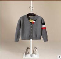 Wholesale Sweater Boys Stripes - Kids cardigan fashion little Boys stripe long sleeve warm sweater Autumn Winter Children single-breasted V-neck outwears Kids clothes C2346