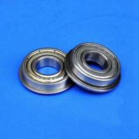 Wholesale Flange Ball Bearings - 100pcs MF104ZZ 4mm flanged bearing 4x10x4 mm MF104 miniature shielded flange deep groove ball bearings 4*10*4