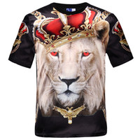 Wholesale Lions Shirt Xl - Wholesale-New fashion women men hip hop crown lion print t shirt mens 3d compression t-shirt swag tshirt homme brand clothing for men