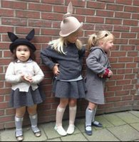 Wholesale Rabbit Ear Hat Pink - Children woolen princess hat girls stereo rabbit bunny ear fedorn kids cosplay accessories baby girls cartoon animal horn caps R0796
