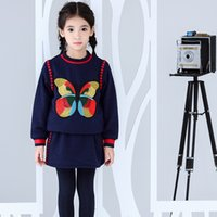 Wholesale Butterfly Skirt Child - Kidsalon Children Clothing Sets Pullover Baby Girl Clothes Set with Embroidery Butterflies Girl Tracksuits Costume Sweatshirts+Skirts
