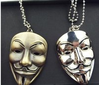 Wholesale Guy Pendants - 3 color New Arrival Hot Selling Moive Film V for Vendetta ANONYMOUS GUY Mask Metal Pendant Necklace