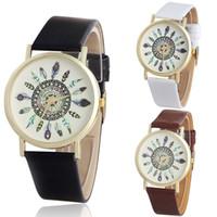Wholesale Unique Womens Wrist Watches - Vosicar Womens Vintage Feather Dial PU Leather Band Quartz Analog Unique Wrist Watches