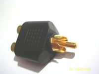 Wholesale Rca Splitter Y Adapter - 10 pcs Gold Plated RCA Adapter Audio Y Splitter Plug 1 Male to 2 Female