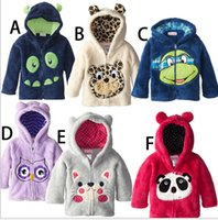 Wholesale Coral Boys Hoodies - Wholesale-Free shipping Autumn winter private coral fleece jacket zipper add wool embroidery cartoon animals hoodies
