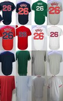 Wholesale Base Blank - 2017 Mens Womens Kids Boston Jersey 26 Wade Boggs Blank White Grey Blue Red Green Cheap Cool Flex Base Baseball Jerseys