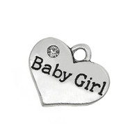 Wholesale Baby Sliders - Fitness 50 Pieces lot Zinc Alloy Antique Silver Plated Word Baby Girl DIY Finding Message Charm for jewelry making