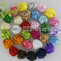 Wholesale Hair Stain - Free Shipping!200pcs lot 2CM Stain Rolled Rosettes,Kids Boutique DIY Satin Rose Flowers For Baby Girls Wedding Hair Accessories MG010