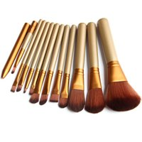 Golden 12 Pz / lotto Make Up Brushes Set Foundation FaceEye Powder Blusher Professional Pinceaux Cosmetics Pennello per trucco Maquiagem