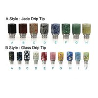 Wholesale Jade Hot Stones - Hot Selling 510 Drip Tips E Cigarettes Carving Art Glass Drip Tip Jade stone Drip Tip SS Wide Bore Mouthpieces for Atomizer Vaporizer