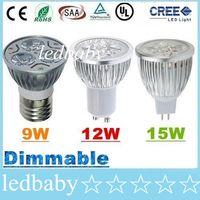 cree led para la venta al por mayor-50% Oferta de descuento + CREE 9W 12W 15W Luz de bombillas de punto led E27 E26 B22 MR16 GU10 Lámpara de luces led regulables cálido / natural / blanco frío CA 110-240V / 12V