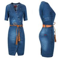 Wholesale Dress Min - Fashion Women Summer Denim Dress Lovely Min Short Sleeve Sexy V Neck Casual Vestido Jeans Female Cowboys Dresses Jeans Plus Size Blue Dress