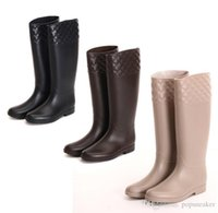 Wholesale Cheap Rain Boots For Women - new fashion knee high women rubber tall brand designer rainboots Wellies rain boot ladies water shoes for female cheap sale