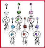 Wholesale Dream Catcher Navel Belly Ring - New Arrival 316L Surgical Steel Crystal Gem Dream Catcher Belly Navel Barbell Bar Ring Body Jewelry Piercing
