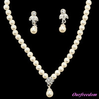 Wholesale elegant pearl drop earrings - In Stock 15097 Ivory Jewelry Sets With Earring Elegant Formal Prom Evening Party Wear Bridal Jewelry New Arrival 100% Real Image