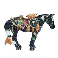 Wholesale Collectible Horse Statues - Decorative war horse crystal jewelry box decorative rhinestone Trinket Box Collectible pewter metal horse statues figurines