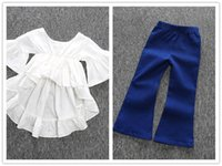 Wholesale Trousers Designs For Girls - Girls fashion ruffle white T shirt 2pc sets white falbala Asymmetrical design top+denim blue bell-bottom trousers kids chic outfits for 1-5T