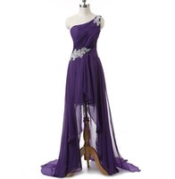 Wholesale High Low Chiffon Homecoming Dresses - Real Photo Homecoming   Prom Dress Cheap One Shoulder Appliques Beads Pleats High Low Formal Dresses Evening Wear In Stock Party Gowns 2016