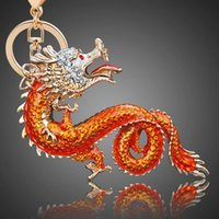 Novelty Animal Key Chain Inovador Metal Inlay Rhinestone Red Dragon keychain Criativo Chinese dragon key chain