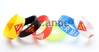 Wholesale Silicone Wristband Superman - Wholesale 100 pcs   lot Superman Wristband Silicone Promotion Gift Filled in Color Bracelet
