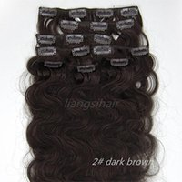 "Wholesale Wholesale Remy Hair 15 - Clip in human Hair Extensions 15""-26"" 7pcs 2# Dark Brown Body Wave Style Brazilian Peruvian Malaysia virgin Remy human Hair Bundles"