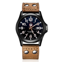 Wholesale Trendy Leather Watches Wholesale - 10PCS HOT watches luxury Analog SWISS ARMY new fashion trendy sport military style wrist men watch,black,green ,blue Geneva watches