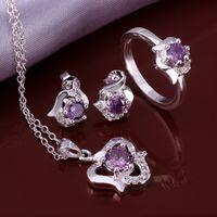 Wholesale African Amethyst Bracelet - New Elegant 4 Colors 925 Sterling Silver Sapphire Ruby Amethyst Crystal Necklace Earrings Anklet Ring #8,Elegant Women's Wedding Jewelry set