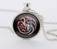 Wholesale Vintage Party Glasses - 3 colors glass pendant Game of Throne famille Targaryen glass movie choker necklace bijoux summer style Vintage movie jewelry