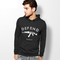Wholesale Rifle Sleeve - Wholesale-Autumn winter new 2016 GIV DEFEND PARIS AK47 Automatic rifles print pullover Hip hop 3D sports men hoodies sweatshirt sportswear