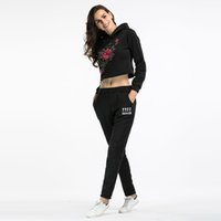Tuta da set di due pezzi per le donne Elegant Top Top e Pantaloni Set 2017 Womens Casual ricamo Sweat Suits Fitness Outfits invernale