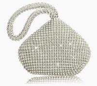 Wholesale Vintage Rhinestone Clutch - Rhinestones Women Clutch Bags Diamonds Finger Ring Ladies Vintage Evening Bags Crystal Wedding Bridal Handbags Purse Bags Holde