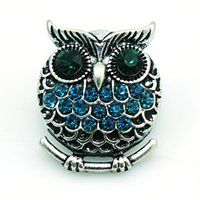 Wholesale Metal Owl Charms - Fashion 18mm Snap Buttons 4 Color Rhinestone Owl Charms Metal Clasps DIY Noosa Interchangeable Jewelry Accessories NKC0011