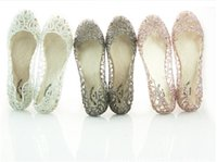 Wholesale Women Jelly Flats Sandals - new arrive flat crystal jelly shoes melissa women cut-outs sandals flip flops 4 colour