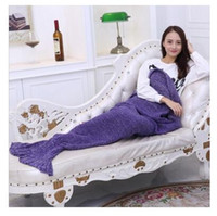 Wholesale Single Throw - Kids Blankets Mermaid Winter Sleeping Bag Knitting Boys Girls Throw Bed Wrap Air Conditioning Christmas Gifts 140CM*70CM Free Shipping