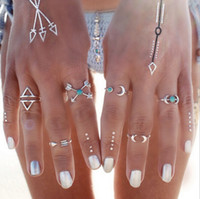 Wholesale vintage style ring settings resale online - Rings Sets Bohemian Style Pck Vintage Anti Silver Color Rings Arrows Moon Lucky Rings Set for Women Party Silver RING