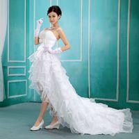 Wholesale White Korean Mini Wedding Dress - Korean dress white wedding dress trailing Korean Princess Bra paragraph length short in front dress