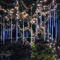 yılbaşı ağacı led tüp toptan satış-50cm 10 Tüpler 540 LED Meteor Duş Yağış Işıkları Suya Dayanıklı Mavi Beyaz RGB Snowfall String Light for Wedding Christmas Party Ağaç Dekorasyon
