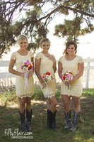 Wholesale Short Pale Blue Bridesmaid Dresses - 2016 Pale Yellow Sheer Crew Neck Short Bridesmaid Dresses Full Lace Cap Little Sleeves Column Mini Country Style Summer Cocktail Dresses