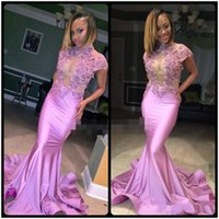 Wholesale Woman Pageant Dress Bead - Prom Dresses 2018 Women Formal Party Evening Gown Pageant Dress Mermaid High Neck Zipper Back Sheer Neck Beads Crystal Cap Sleeve Long